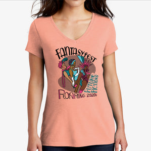 Official 2020 Fantasy Fest Ladies V-Neck: Roaring 2020's & Future Fictions - Heathered Dusty Peach