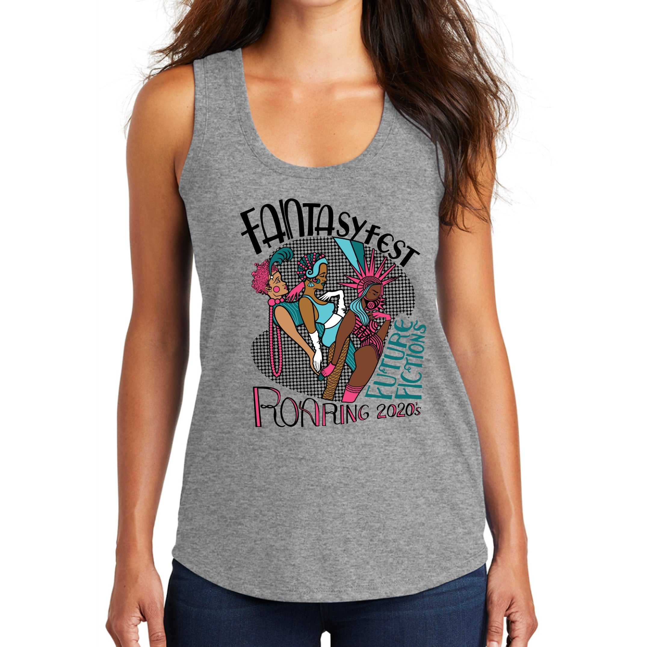 Official 2020 Fantasy Fest Ladies Racerback Tank: Roaring 2020's & Future Fictions - Grey Frost