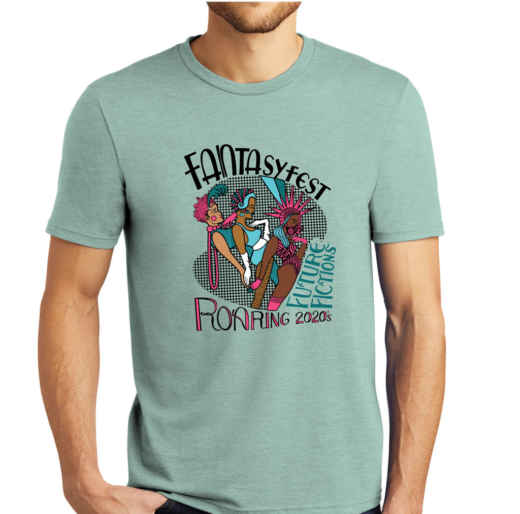 Official 2020 Fantasy Fest T-Shirt: Roaring 2020's & Future Fictions - Heathered Dusty Sage