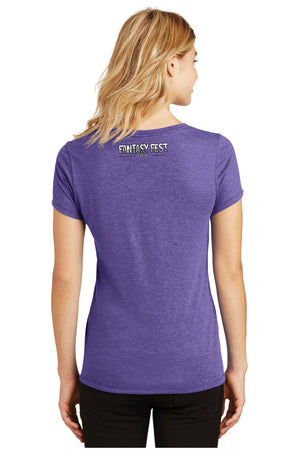 2018 Official Fantasy Fest Ladies V-Neck - Purple Frost