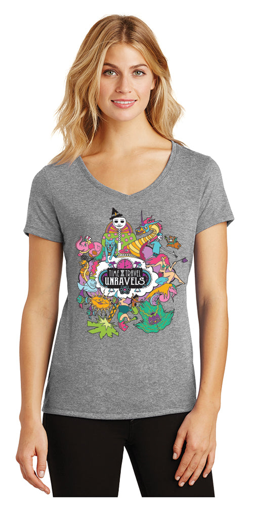 Ladies V-Neck - Time Travel Unravels® - Grey Frost