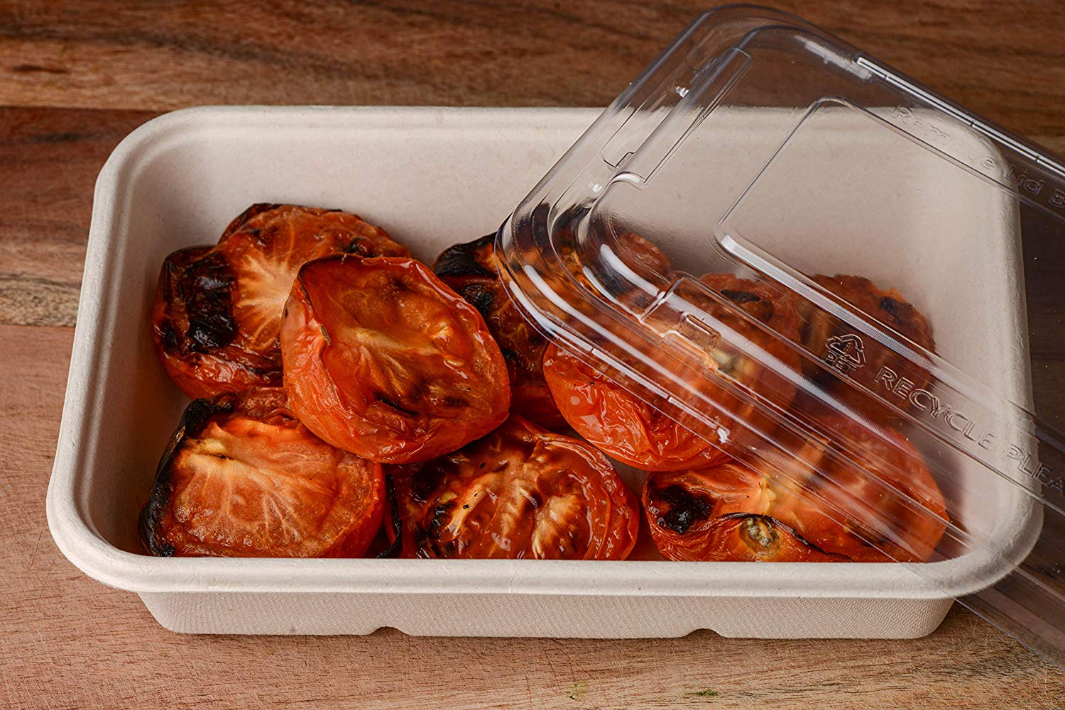 34oz Compostable Eco Friendly Container Trays with Clear Lids [50 Pack]