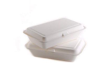 50 Count - Biodegradable 6x6 Take Out Food Containers with Clamshell Hinged Lid