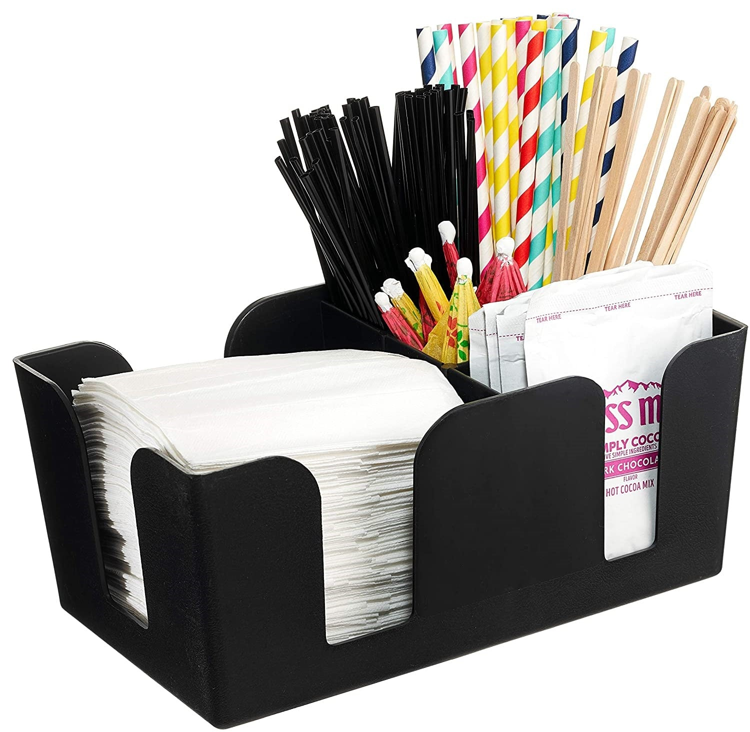 Bar Caddy with 6 Compartments, Plastic Bar Organizer, Heavy Duty Refillable Bar Organizer, Barware Caddy, Napkin Dispenser, Straw Organizer