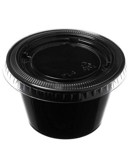 [300 Pack] 4 Oz Leak Proof Black Plastic Condiment Souffle Containers with Lids