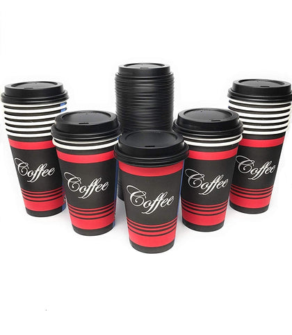 Classic Durable Disposable Paper Cups & Black Dome Lids by EcoQuality