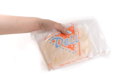 [2000 Pack] Clear Plastic Deli Saddle Bags with Printed Logo 8.5x8.5 inches - Great for Sandwiches, Deli Meats, Cheeses, Togo by EcoQuality