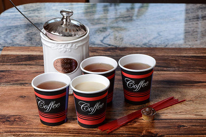 Combo Set - Paper Coffee Hot Cups, Black Dome Lids, Sleeves & Stirrers