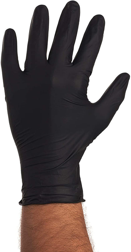 [100 Pack] Large Black Nitrile Exam Gloves