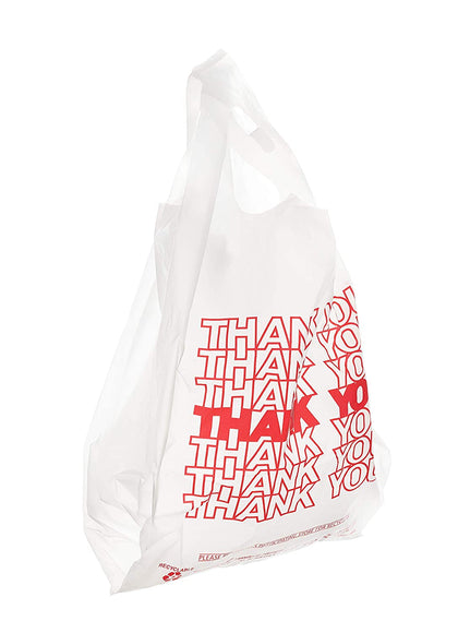 Plastic White Thank You T-Shirt Bags 1000ct