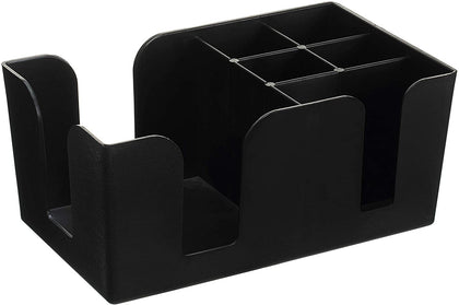 [8 PACK] Bar Caddy with 6 Compartments, Plastic Bar Organizer, Heavy Duty Refillable Bar Organizer, Barware Caddy, Napkin Dispenser, Straw Organizer