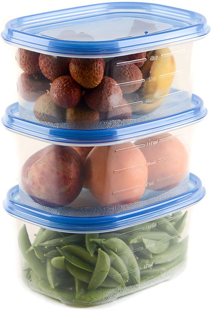 [ 6 PACK ] 76oz Rectangular Plastic Reusable Storage Containers with Snap On Lid