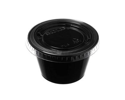 Leak Proof Black Plastic Condiment Souffle Containers with Lids