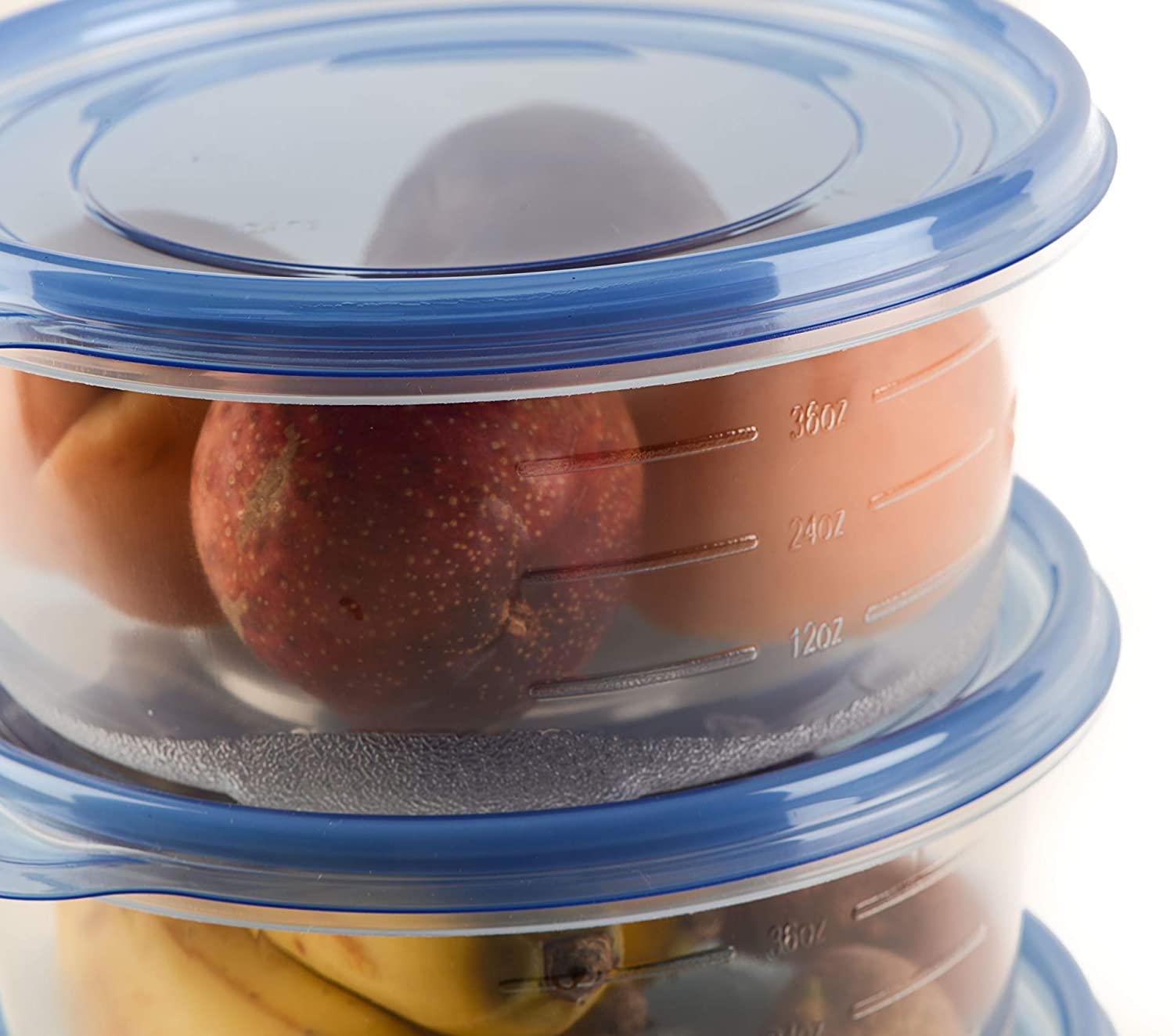 Round Plastic Reusable Storage Containers with Snap On Lid