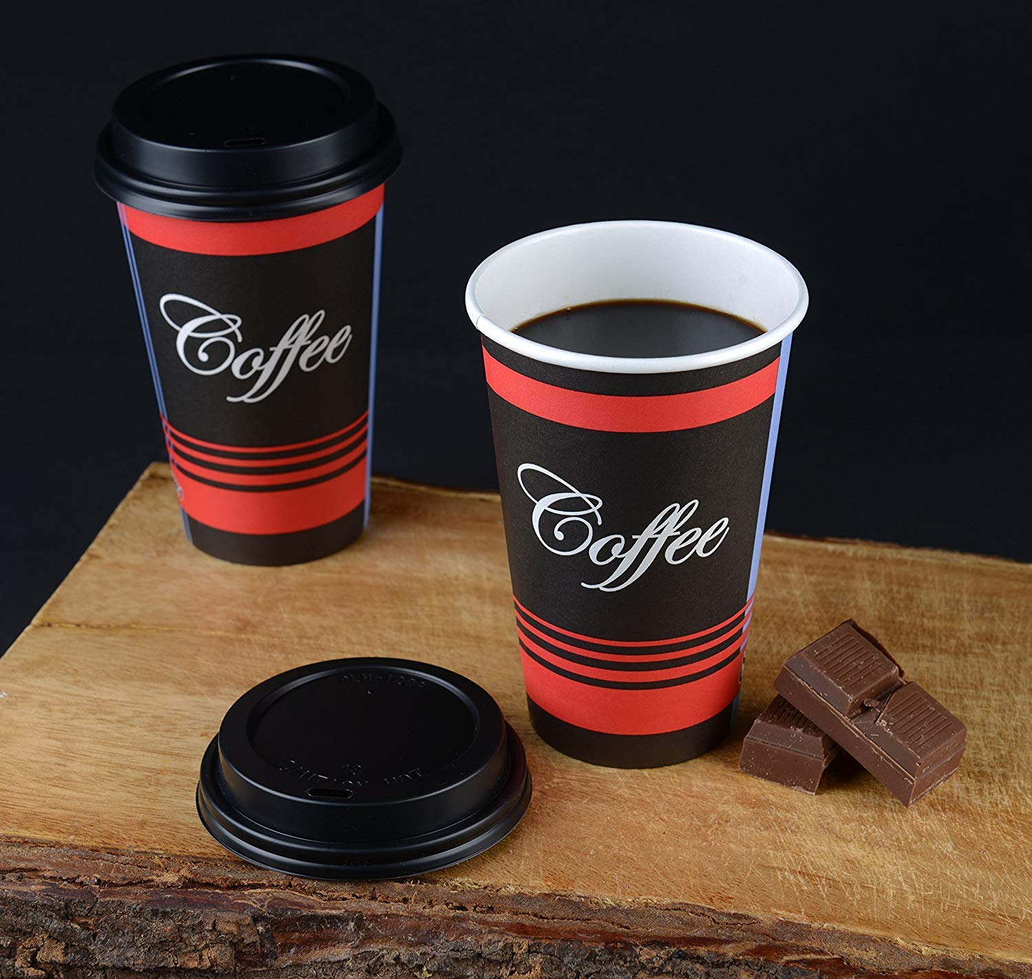 Large 16 oz 100 Count by EcoQuality - Classic Durable Disposable Paper Cups & Black Dome Lids