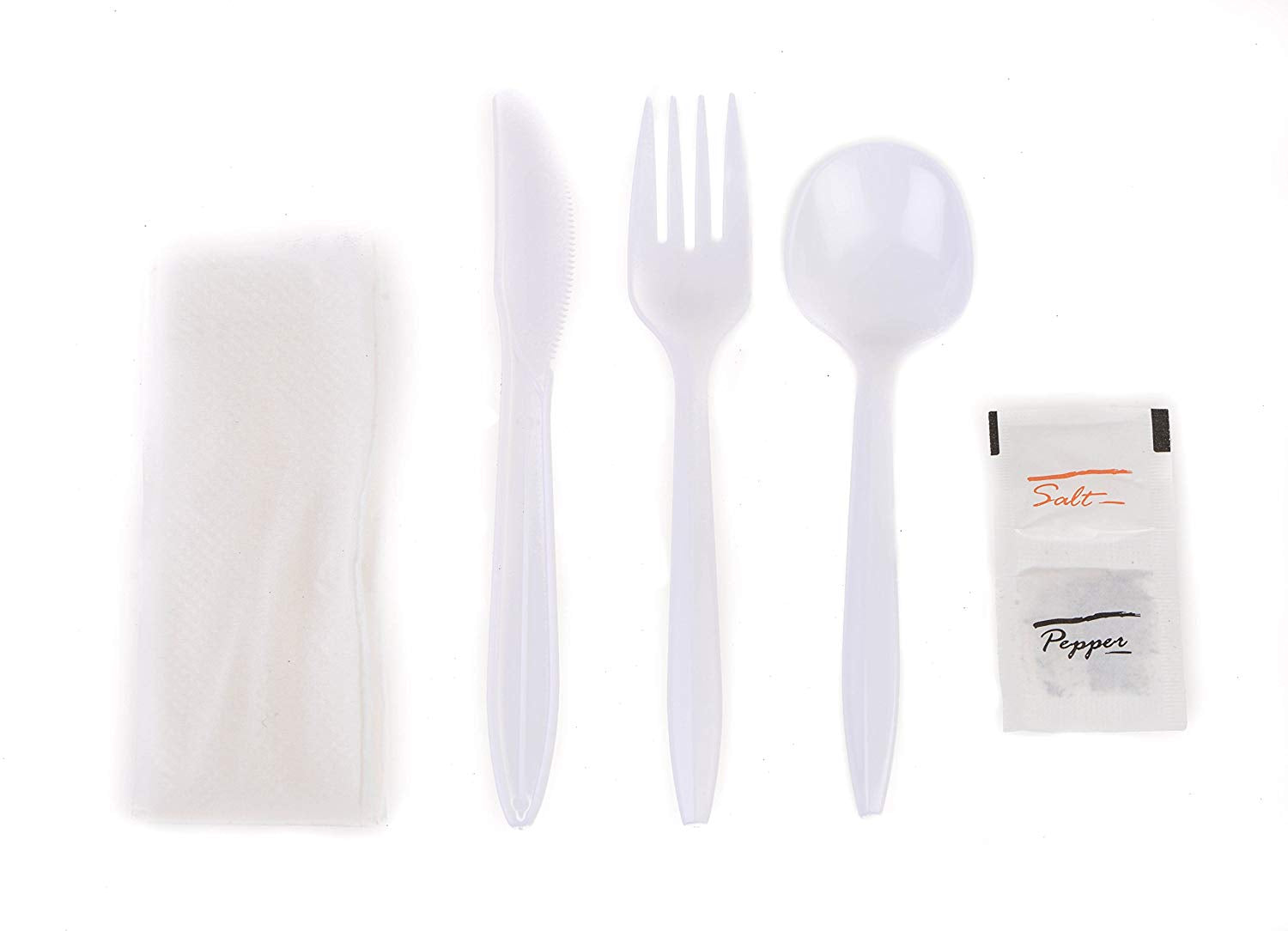 EcoQuality Wrapped Cutlery Kit 6 in 1 - Fork/Spoon/Knife/Napkin/Salt/Pepper - Disposable Cutlery Kit, Perfect for Lunch, Meal Prep, On The Go, to go, Catering and Restaurants (White, Pack of 50)