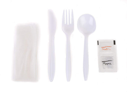 EcoQuality Wrapped Cutlery Kit 6 in 1 - Fork/Spoon/Knife/Napkin/Salt/Pepper