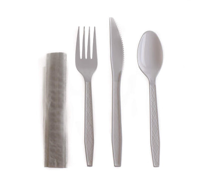 [1500] Disposable Wrapped White Heavy Duty Cutlery Kit 4 in 1 - Fork/Spoon/Knife/Napkin - Disposable Cutlery Kit, Perfect for Lunch, Meal Prep, On The Go, to go, Catering and Restaurants
