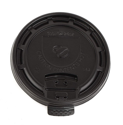 [500 Pack] Black Flat Tear Back Lids for Hot Cup.