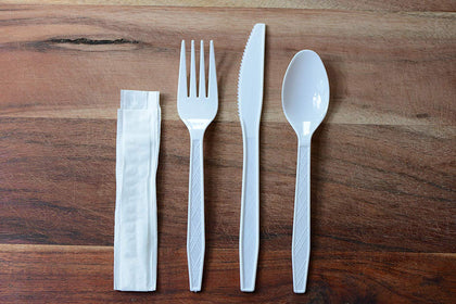 Disposable Wrapped White Heavy Duty Cutlery Kit 4 in 1 - Fork/Spoon/Knife/Napkin