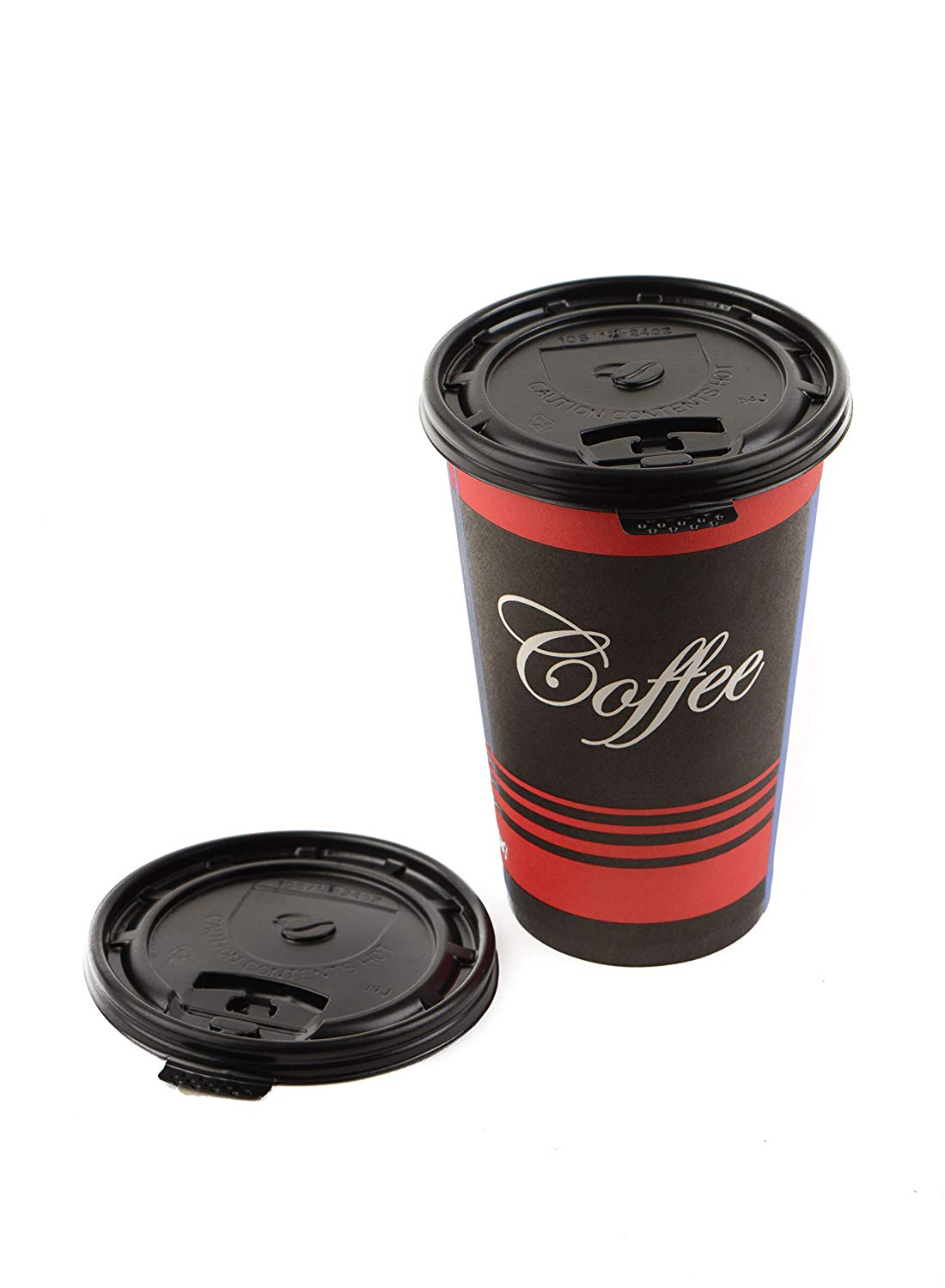Black Flat Tear Back Lids for Hot Cup