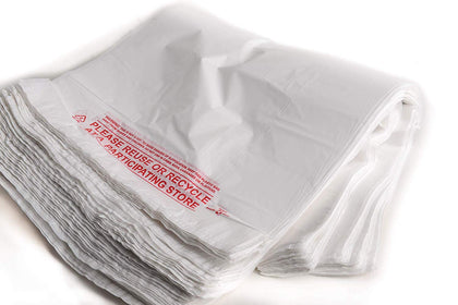 EcoQuality Plastic White T-Shirt Bags 1000ct, 1/10 Shopping Bags,
