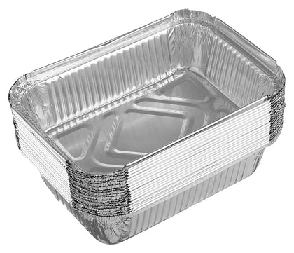 [10 Pack] EcoQuality 1LB Oblong Take Out Foil Baking Pans