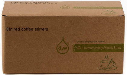 Compostable Plastic Stirrer, Bio Degradable, Eco Friendly, Sip Stirrer, Bar Stirrer, Sip Straw, For Coffee, Cocktail, Latte and Tea - 1000/Box, Red