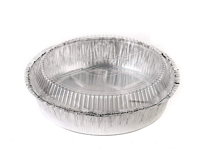 Disposable Round Aluminum Foil Take-Out Pans With Plastic Lids Set