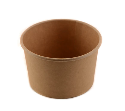 Kraft Compostable Paper Soup Container - Half Pint Size with Vented Lids