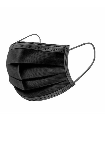 3 - PLY Face Masks with Soft Ear Loops BLACK DISPOSABLE 50/Case Non Medical / Non Surgical Masks
