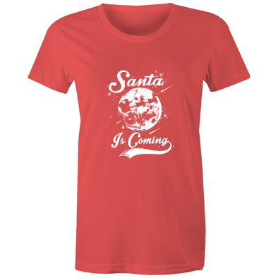 Santa is Coming - Womens Premium Crew T-Shirt