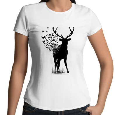 Deer Butterfly - Womens Premium Crew T-Shirt