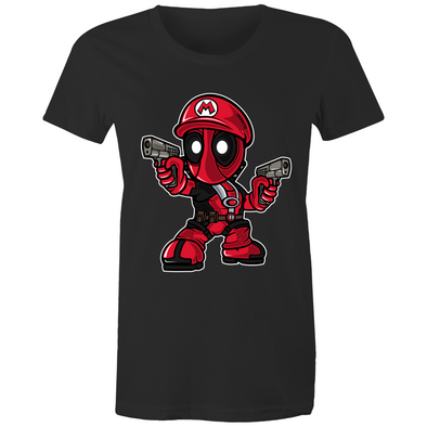 Mario Deadpool - Womens Premium Crew T-Shirt