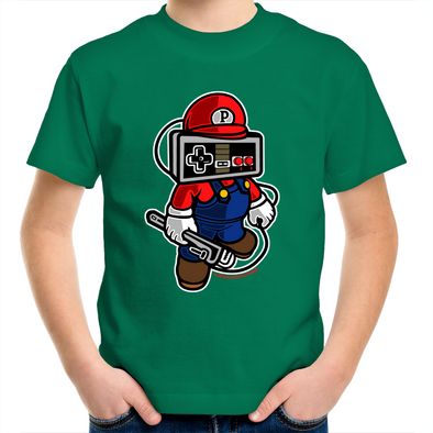Player Head (Mario) - Kids Youth Tee