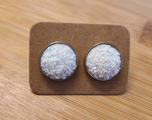 White - 12mm druzy earrings