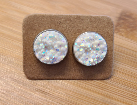 Chunky White - 12mm druzy earrings