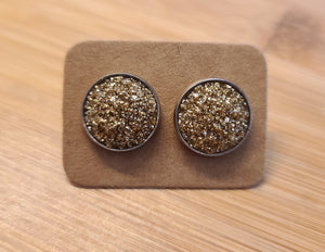 Pot of Gold - 12mm druzy earrings