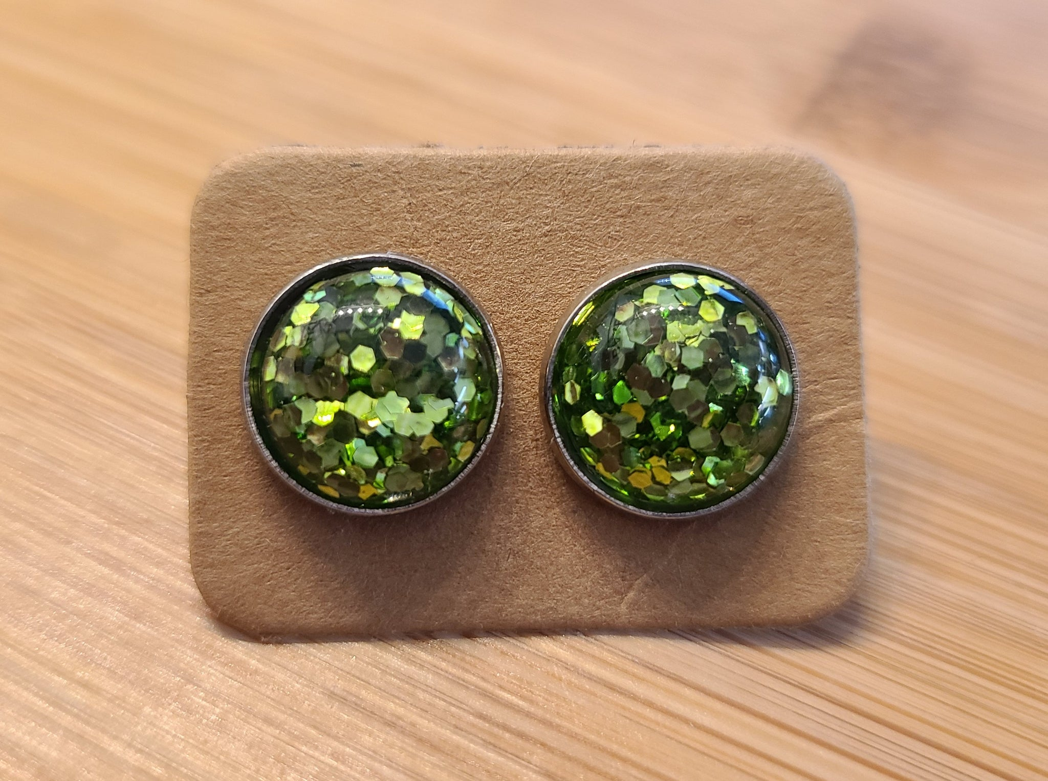 Green Glitter - 12mm druzy earrings