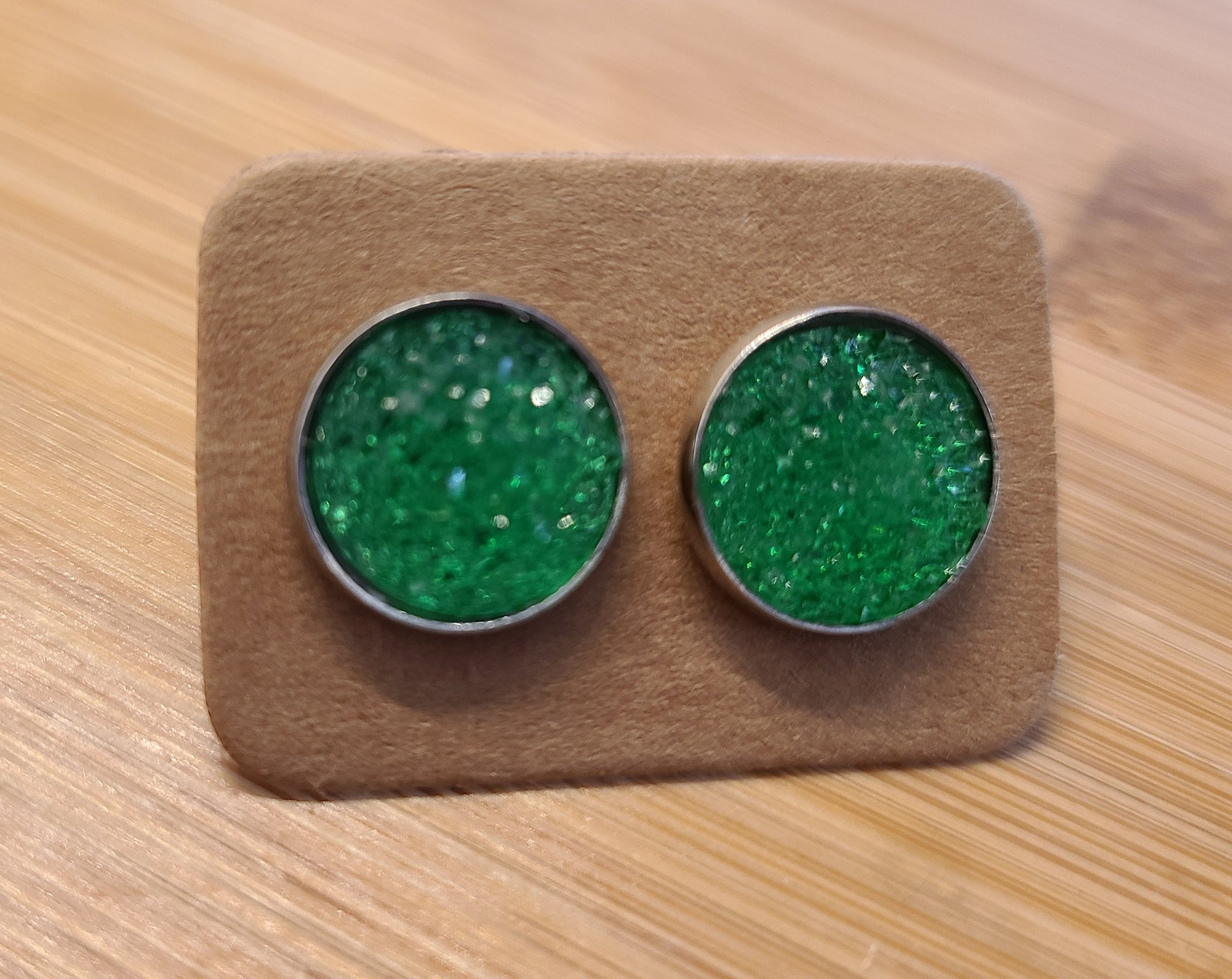 Lime Glitter - 12mm druzy earrings