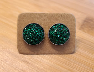 Grass Green Glitter - 12mm druzy earrings