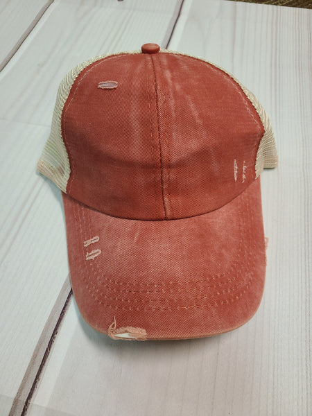 Distressed Pony Tail Hat - Rust