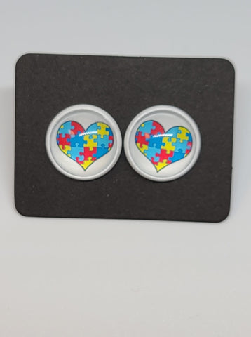 Puzzle Heart, White Setting Druzys - 12mm druzy earrings
