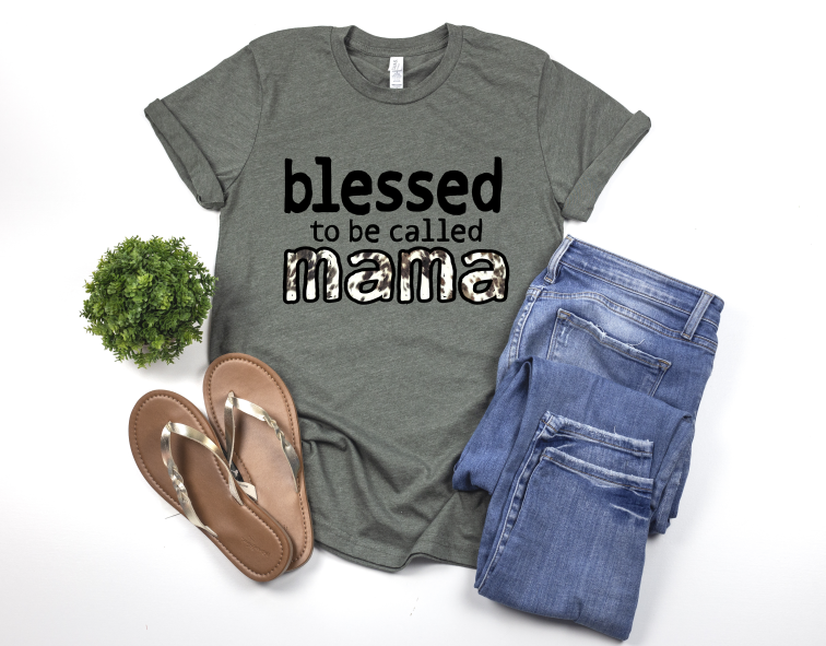 259 - Blessed Mama Cowhide Screen Print Transfer - SOFT INK