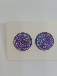 Chunky Purple, Gray Setting - 12mm druzy earrings