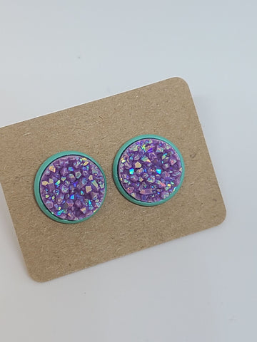 Chunky Purple, Mint Setting- 12mm druzy earrings