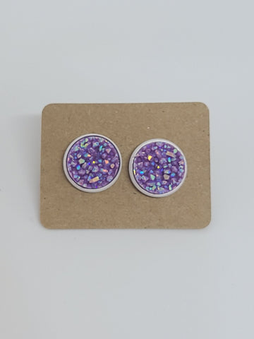 Chunky Purple, White Setting- 12mm druzy earrings