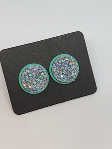 Chunky Silver, Teal Setting - 12mm druzy earrings