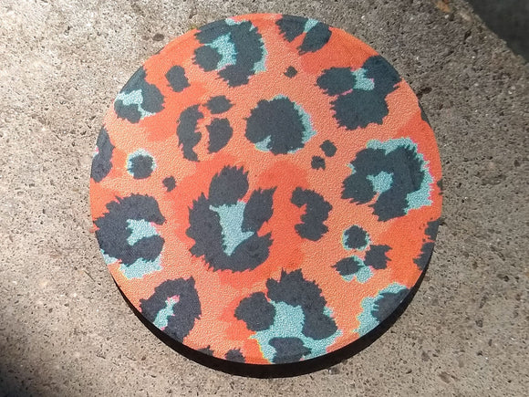 Coral Leopard Stone Car Coaster Set of Two