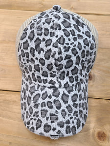 Distressed Pony Tail Hat - Gray Leopard